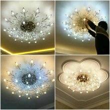 Modern K9 Crystal LED Recessed Ceiling Chandelier Lighting Fixture Gold Black Home Lamps for Living Room Bedroom Kitchen
