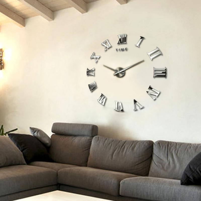Promosi 2017 Baru Dekorasi Rumah Besar Roman Cermin Mode Jam Kuarsa Ruang Tamu Diy Dinding Menonton Pengiriman Gratis In Wall Clocks From Home