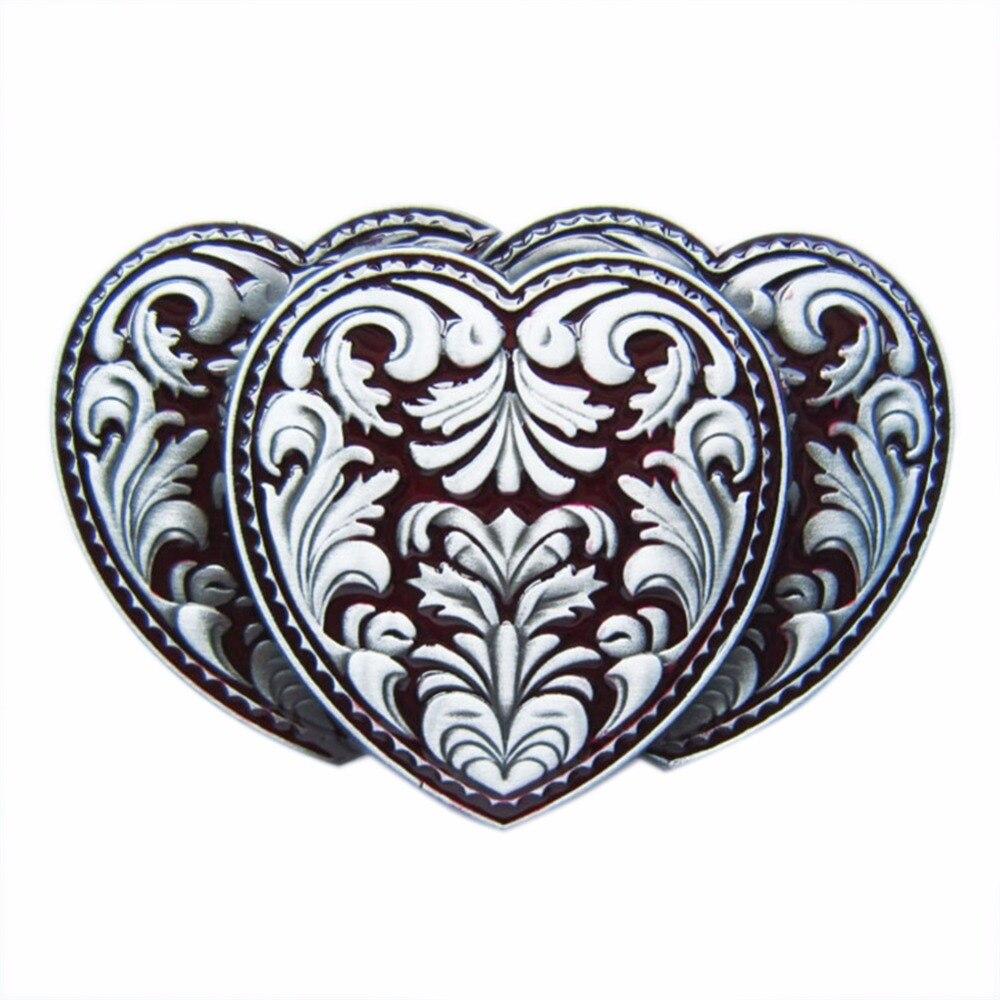 Flower Triple Hearts Metal Belt Buckle