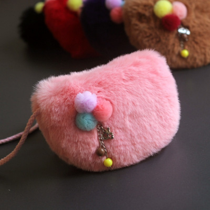 Faux fur plush women coin purse wallet mini shoulder crossbody money bag female small pouch carteira for kindergarten baby girls