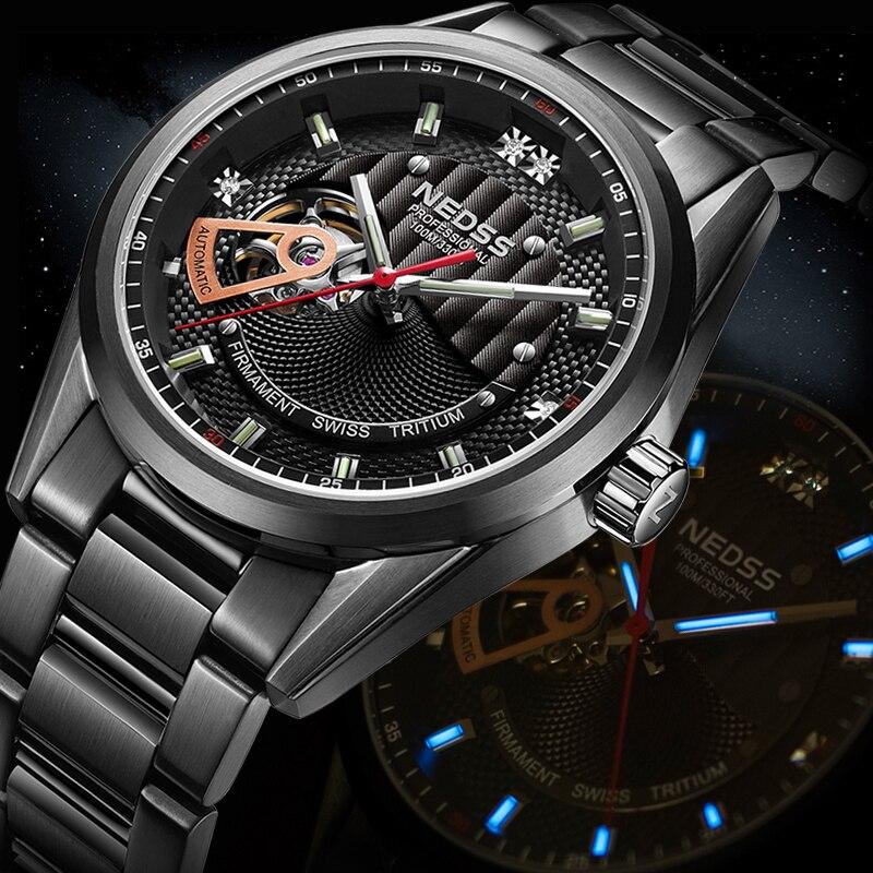 NEDSS tritium luminous High Quality skeleton watches Top Brand Luxury Sapphire Waterproof Automatic Mechanical Wrist Watch