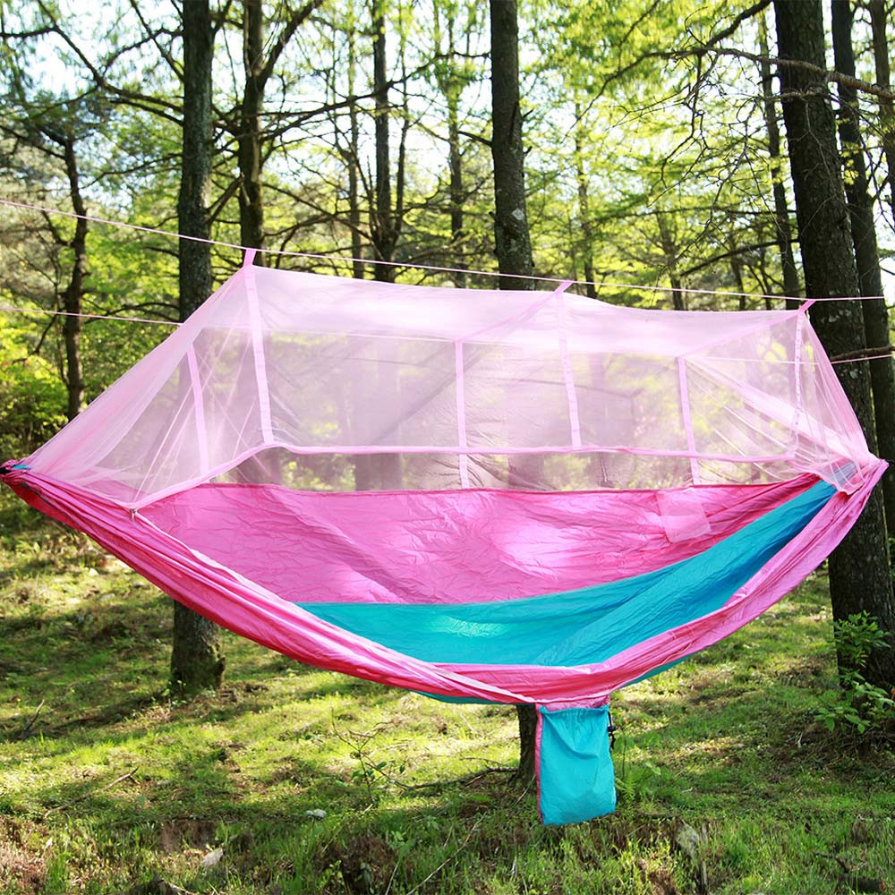 Camping & Hiking Sleeping Bags Yingtouman Sleeping Bed Parachute Nylon Outdoor Camping Hammocks Portable Hammock Swing Bed With Mosquito Net Sleeping Hammock