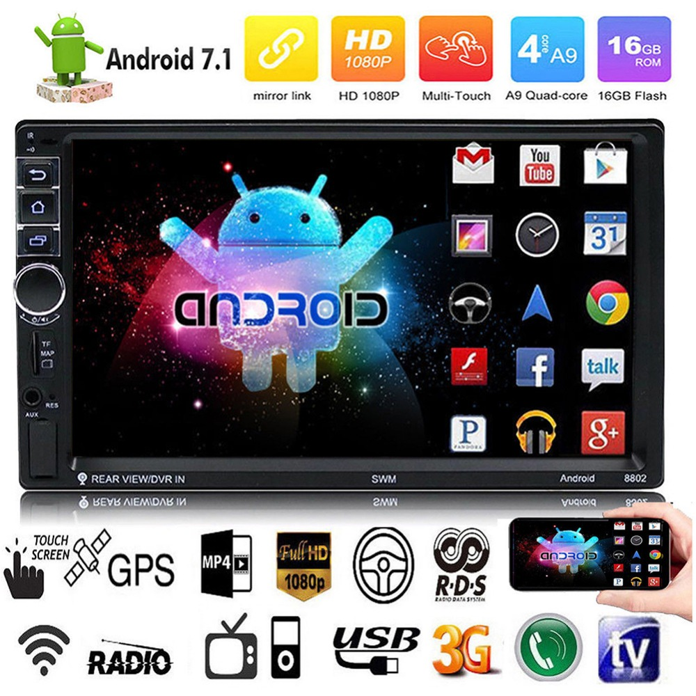 HTB14nIsXcfrK1Rjy0Fmq6xhEXXaZ - 2 Din Android 7.1 System 7 Inch 4 cores 1024*600 HD Touch Screen Bluetooth FM AM Radio GPS Navigation MP4 MP5 Multimedia Player