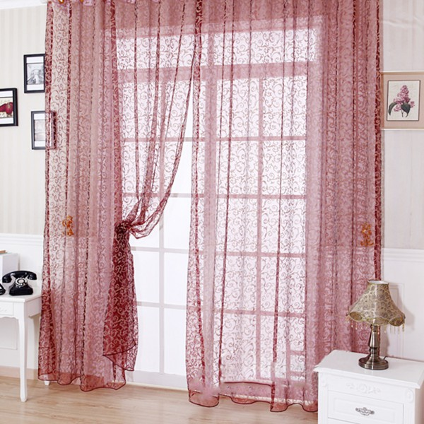 Elegant Floral Tulle Voile Door Window Curtain Drape Panel Sheer Scarf Valances