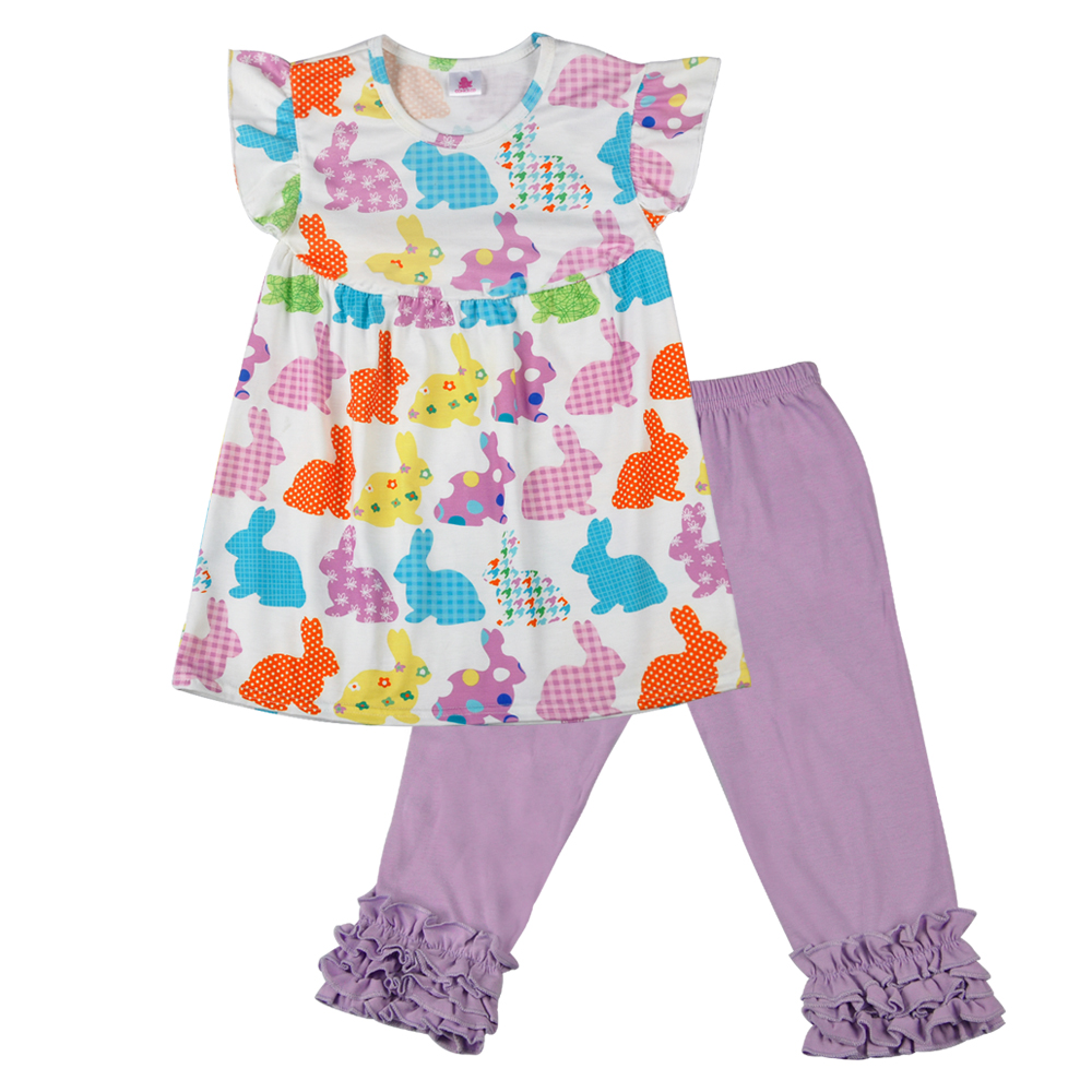 Easter Baby New Design Lovely Purple Baby Girl Dress Bunny Pattern Solid Icing Capris Children Clothing Set 2GK801-142