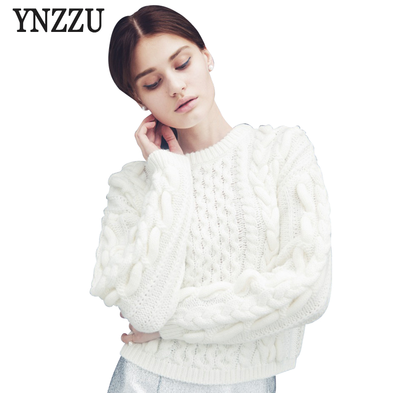 YNZZU Women Vintage White Pullover Sweaters Ladies Autumn Casual ...