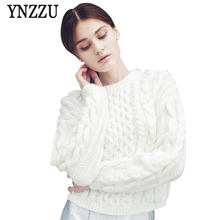 YNZZU Women Vintage White Pullover Sweaters Ladies Autumn Casual Knit Thick  Long Sleeve O Neck Oversized 455373d21