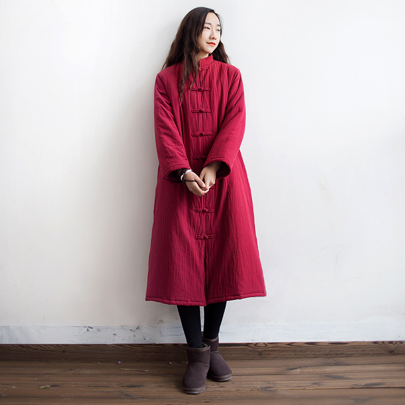 Women Winter Vintage Hand-made Button Cotton Linen Padded Coat Ladies Thick Single Breasted Stand Collar Retro Overcoat Outwear