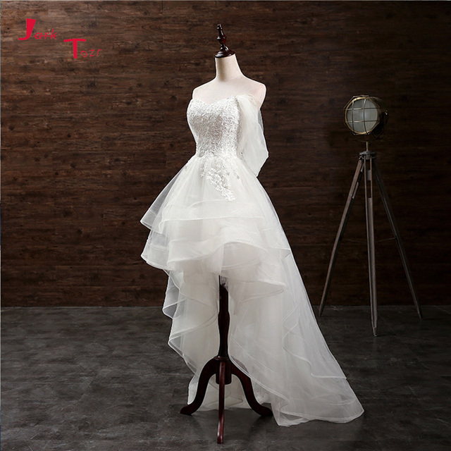 Jark Tozr Custom Made küçük beyaz elbiseler Vestido De Casamento aplikler yüksek düşük gelinlik çin Online alışveriş Trouwjurk