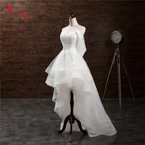Image 1 - Jark Tozr Custom Made mały biały sukienki Vestido De Casamento aplikacje wysoki niski suknia ślubna chiny sklep internetowy Trouwjurk