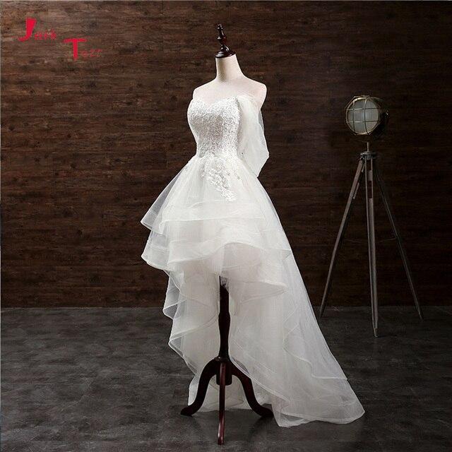 Jark Tozr Custom Made mały biały sukienki Vestido De Casamento aplikacje wysoki niski suknia ślubna chiny sklep internetowy Trouwjurk
