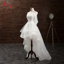 Jark Tozr مخصص فساتين بيضاء صغيرة Vestido De Casamento يزين عالية منخفضة ثوب زفاف الصين متجر عبر الإنترنت Trouwjurk