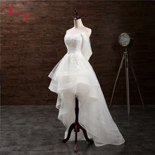 Jark tozr feito sob encomenda pequenos vestidos brancos de casamento apliques alta baixa vestido de casamento china loja on line trouwjurk