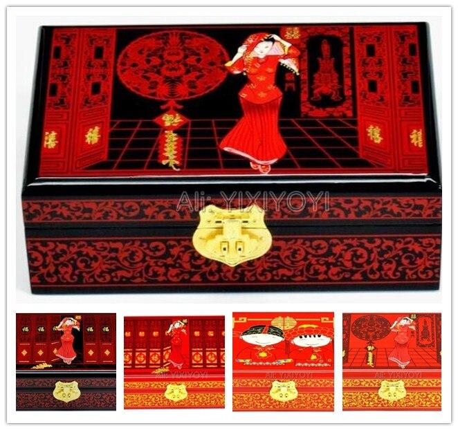 Chiński Retro drewno 2 warstwy ślub zaręczyny pudełko do przechowywania z lustrem kolczyki bransoletka biżuteria wyświetlacz Box futerał w Pakowanie i ekspozycja biżuterii od Biżuteria i akcesoria na  Grupa 1