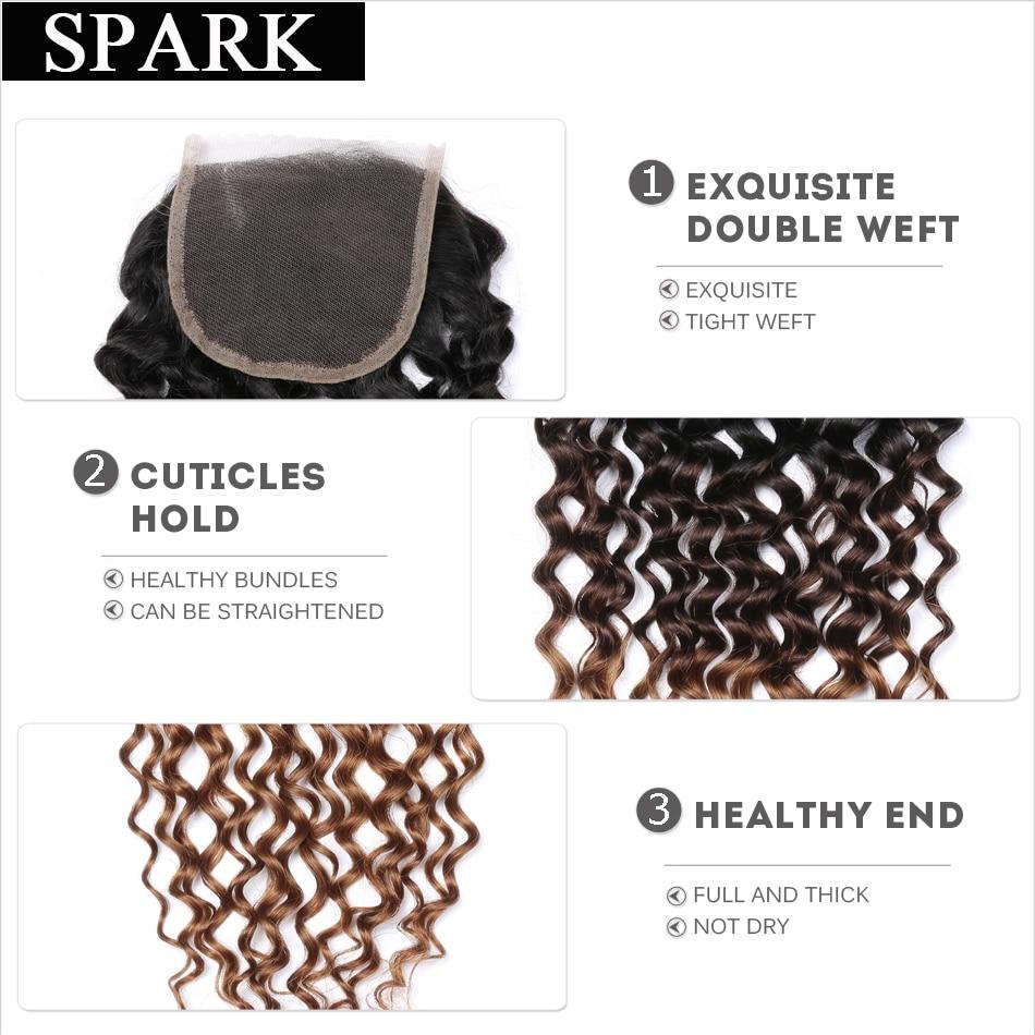 Spark 1B / 4/30 tri tone ombre brazilski kinky kodrasti las čipke - Človeški lasje (za črne) - Fotografija 6