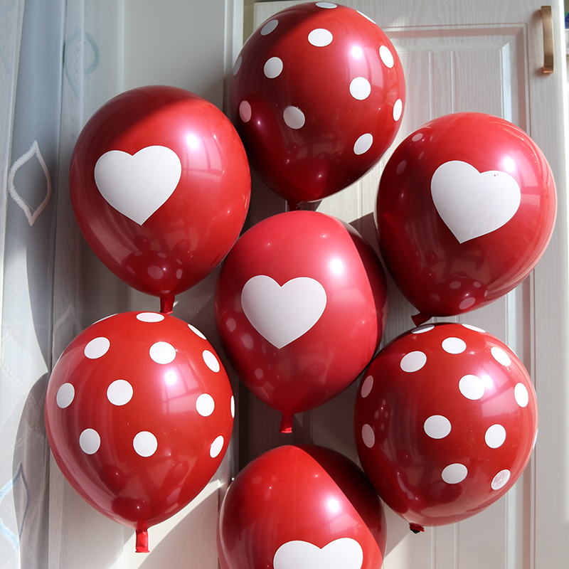 50pcs/lot Rubby Red Heart balloons Romantic Polka dots Wedding Decoration Birthday Party Supplies Helium Round Balloon