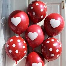 50pcs/lot Rubby Red Heart balloons Romantic Polka dots Wedding Decoration Birthday Party Supplies Helium Round Balloon