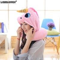LAISIDANTON Blue Pink Unicorn Hat Creative Plush Cap Pillow U Type Hooded Pillow Anime Cartoon Funny