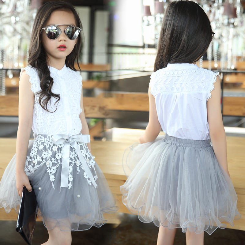 2019 Girls Clothing Sets Summer Lace Fashion Style Baby Clothes For Girls T-Shirt + Skirts 2Pcs Kids Flower Cupcake Cute Skirt 1