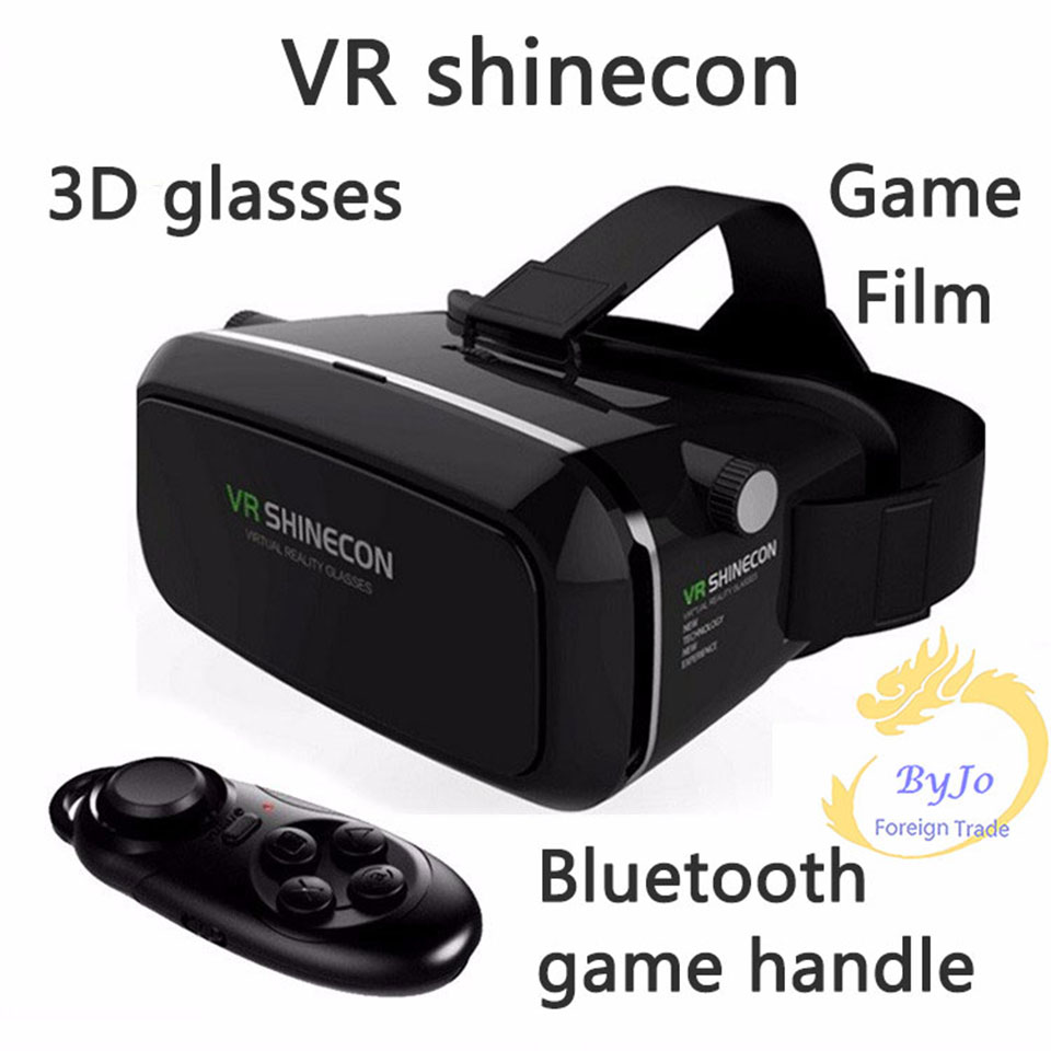 Google Cardboard VR shinecon Pro Version VR Virtual Reality 3D Glasses and Smart Bluetooth Wireless Remote Control Gamepad image