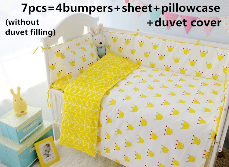 Discount! 6/7pcs baby bedding set 100% cotton crib bedding bumper set,infant nursery ,Duvet Cover,120*60/120*70cm