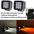 2pcs 24w 3x3Inch Led Work Light Spot Beam White and Amber Strobe RF Remote Control Free Wiring Kit Truck Suv ATV Led Fog Light