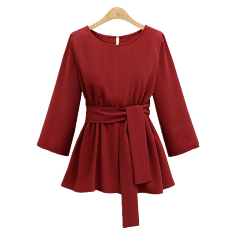2018 XL-5XL Women Plus Size Chiffon Shirt Women Blouses Bow Peplum Top Blusas Mujer Autumn 3/4Sleeve Women Blouse Femme