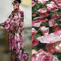 Big Pink Rose Flower Print Silk Chiffon Fabric Soft Chiffon Thin Fabric For Dress Long Beach