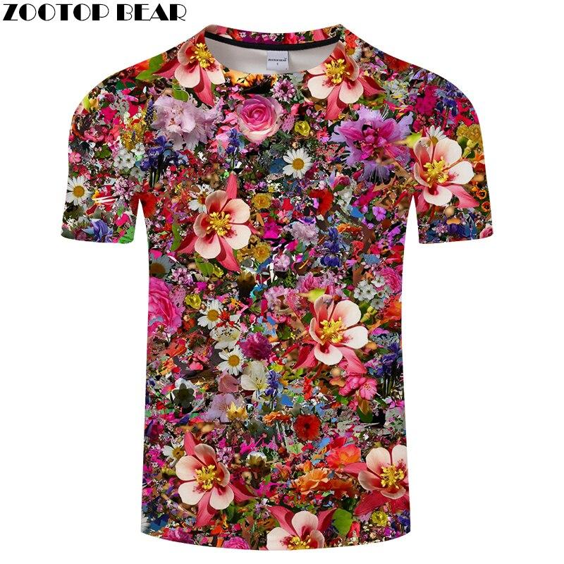 Flower 3D tshirt Men   t     shirt   Print   t  -  shirt   Summer Tee Kawaii Top Casual Short Sleeve Brand Camiseta O-neck Drop Ship ZOOTOPBEAR