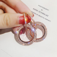 Fashion Korean Style Big Round Drop Earrings Circle Rose Gold Color Cubic Zirconia Rhinestone Dangle Earring for Women Jewelry
