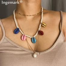 Ingemark Bohemian Cowrie Conch Shell Choker Necklace Sweet Colorful Tassel Cowry Seashell Pearl Pendant Neck Jewelry