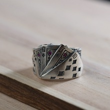 Sterling Silver Playing Cards Open Rings for Men Unique Design