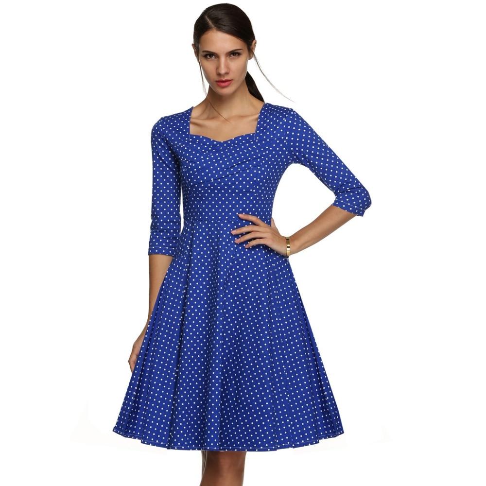 ACEVOG Marka 1950s Sukienka Jesień Wiosna 3/4 Rękawem Kobiety Moda - Ubrania Damskie - Zdjęcie 5