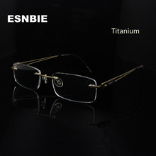 ESNBIE Small Rimless Spectacle Frame Eyeglasses Men Optical Brand Pure Titanium Glasses Slim Ultra Light Eyewear