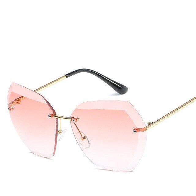 2019 Fashion Square women's sunglasses hue Vintage Retro Rimless Sun Glasses for women Female Ladies Sunglass gafas de sol mujer 2
