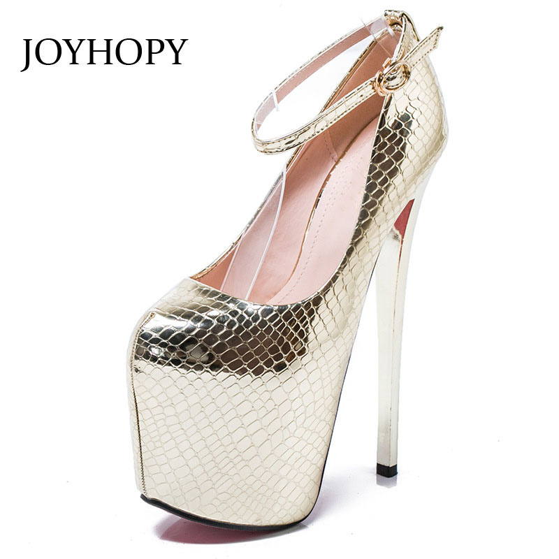 JOYHOPY Fashion Platform Women Pumps Sexy Super High Heels Shoes 20cm Thin Heel Serpentine Women's Wedding Shoes Big Size 34-43