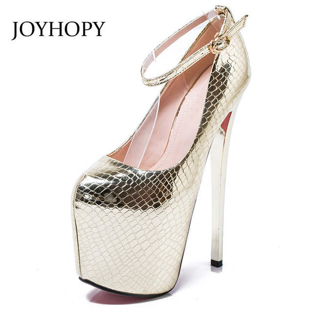 Online Shop JOYHOPY Fashion Platform Women Pumps Sexy Super High Heels  Shoes 20cm Thin Heel Serpentine Women s Wedding Shoes Big Size 34-43  f03c9915577c