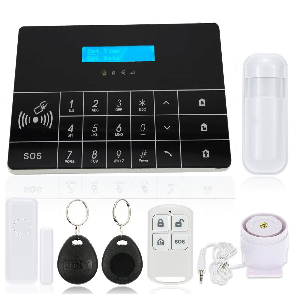 Frre shiping Wireless GSM Alarm System LCD GSM&SMS RFID Touch Keyboard Home House Security Burglar Intruder Alarm System