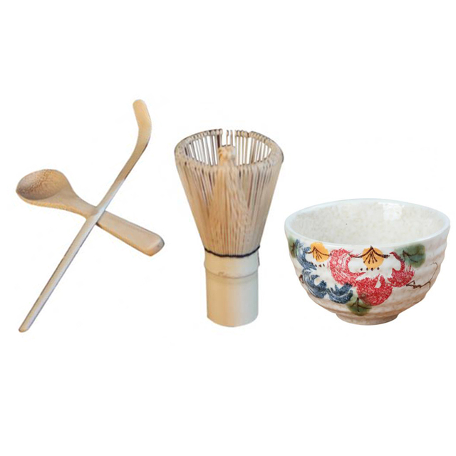4pcs Japanese Matcha Chasen Whisk Powder Tool Teaspoon Teascoop Tea Scoop Whisk Ceramic Peony Bowl NICE GIFT SET