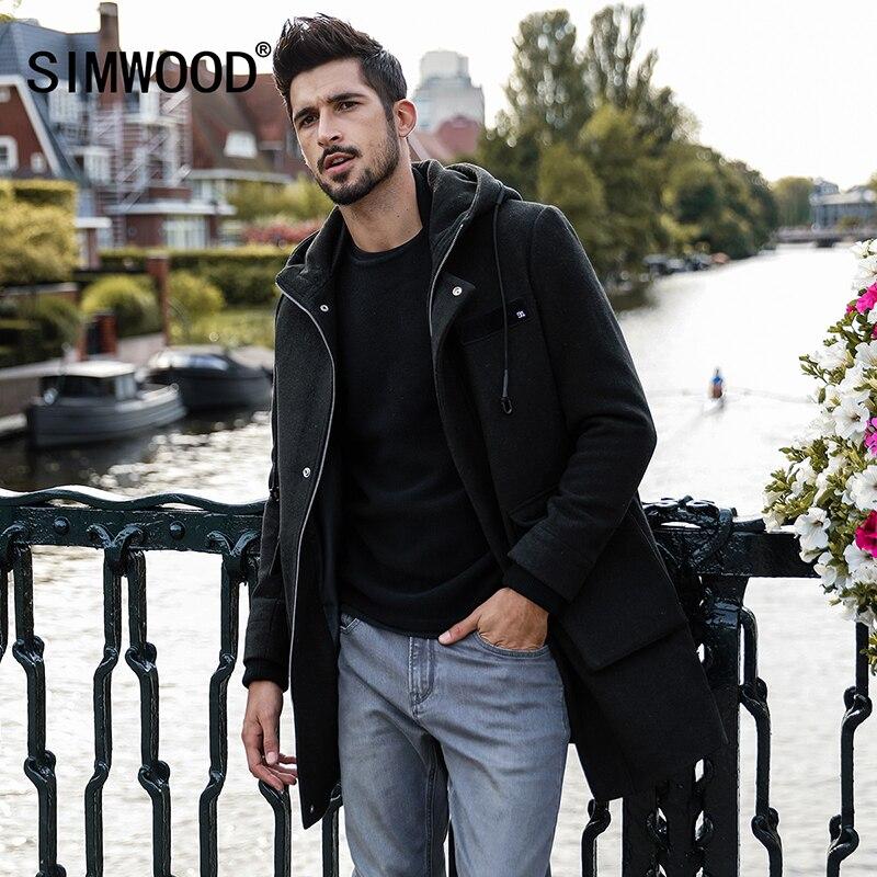 SIMWOOD 2018 Hommes D'hiver Vestes Hommes Section Plus Longue De Laine Manteaux Hommes Vestes Survêtement Chaud Unique De Laine Marque Vêtements DY017005