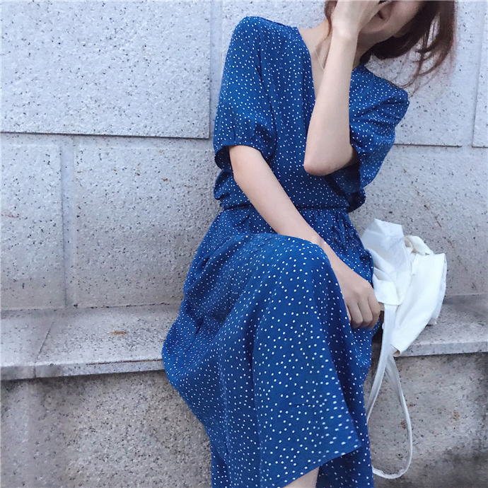 Chic fashion retro wave point  French style dress mori girl 2018 summer