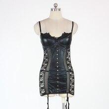 Vinyl Leather Babydoll Black Lace Bodysuit