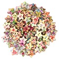 Colorful Wood Fasteners Flower Pattern Button Star Shape 100pcs DIY Sewing Accessories Fastener