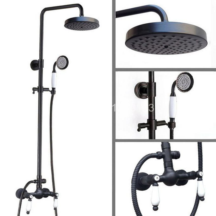 Brass Black Oil Rubbed Bronze Bathroom Rainfall Bath Shower Mixer Tap Faucet Dual Ceramic Handles Wall Mounted ars475
