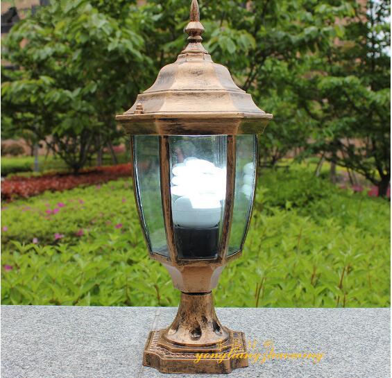Vintage Solid Brass Pillar Light: Antique Brass Landscape Vintage Classical Outdoor IP65