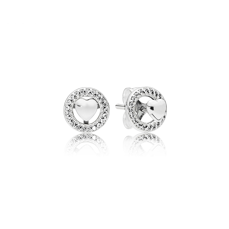 Detail Feedback Questions about Real 925 Sterling Silver Forever Pandora  Heart Original Stud Earrings With Clear CZ For Women Charm Bead DIY Jewelry  on ...