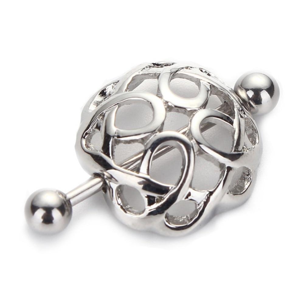 2Pcs316L Surgical Steel Nollow Spiral Nipple Shield -9923