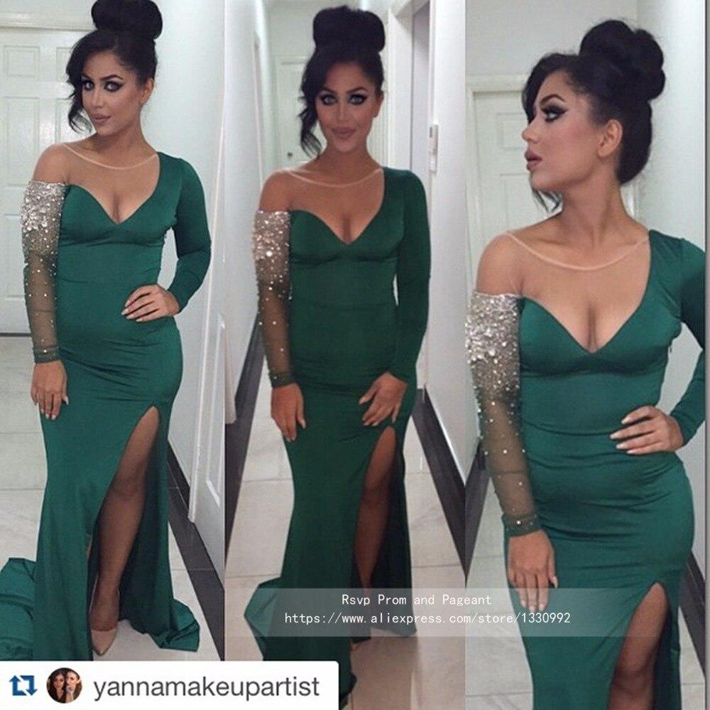 Emerald Green Evening Dresses Long Sleeve Stretch Satin Sheer O neck ...