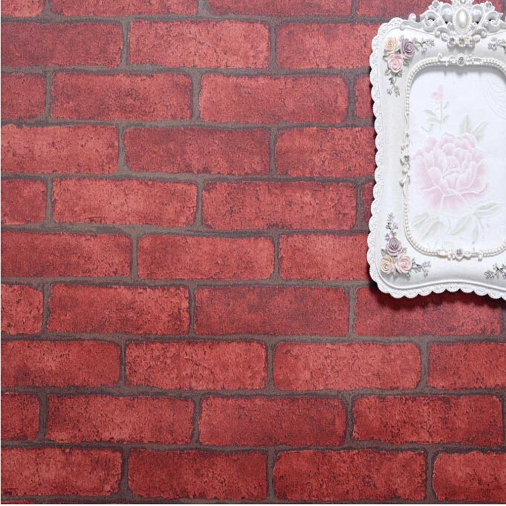 Red brick stone wallpaper self adhesive pvc vintage living for Room decor 3d self adhesive wallpaper
