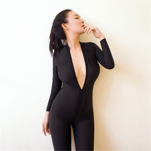 Hodisytian Women Sexy Bodysuits Thin Lingerie Open Crotch Transparent Playsuits Bodycon Costume Long Sleeve Girl Onesize